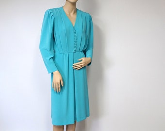 Vintage Dress Designer Dress Lilli Ann Dress 1970's Turquoise Adolph Schuman  Long Sleeve Day Dress Sophisticated Classic Size Medium