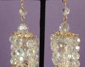 Bridal Crystal Bead Long Drop Chandelier Bridal Earrings Vintage Pageant Runway Earrings