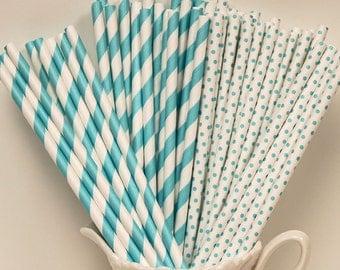 Paper Straws, 25 Robins Egg Blue Party Mix Paper Straws, Blue Paper Straws, Weddings, Baby Shower, Mason Jar straws. Turquoise, Aqua Straws