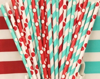 Paper Straws, 25 Assorted Paper Drinking Straws, Dr. Seuss Party Straws, Red Paper Straws, Aqua Blue Paper Straws, Retro Straws, Birthday
