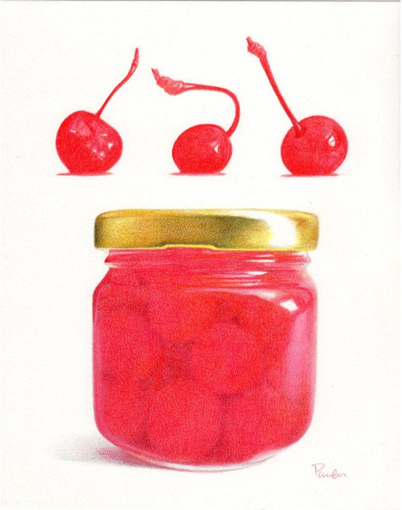 Maraschino Cherries / Cherry PRINT / Pencil Drawing / Realistic Food ...