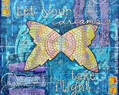 Original Mixed Media Collage / Painting / Canvas Art / Dreams / Take Flight 12x12 / Rainbow Butterfly