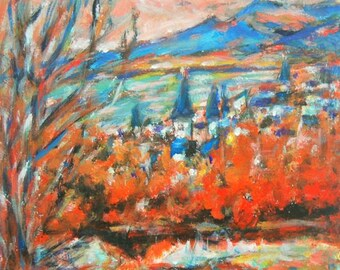 Reykjavik -Giclee Print, Colorful Landscape, Iceland City, Red Painting, Impressionist, Pink Clouds, Mountain, Sea, Autumn Scenery, Fine Art