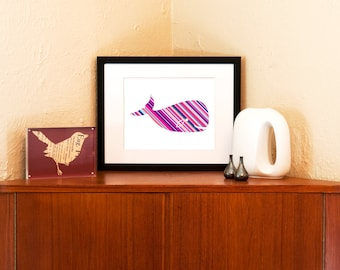 Striped Baby Whale Nursery Art Print on 100% Recycled Paper (Free Shipping in US)