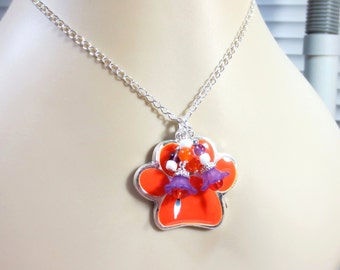 Orange Tiger Paw Necklace/ Orange & Purple Flower Charms/Enameled Tiger Paw Pendant /18 or 20 Inch Silver-Filled Chain, Amethyst Beads