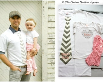 Father's Day Gift Dad Daughter Set of 3. Personalized Baby Girl & New Dad Daddy Tie T-shirt 1 Heart Tee w/ Matching Ruffle Bow Leg Warmers.
