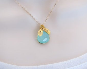 Aquamarine Necklace, 2 Initial Necklace, Dainty Necklace, Delicate Gold Necklace, Personalized Necklace, Mothers Necklace, Natural Stone