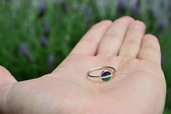 Sterling Silver Ring, Saturn, Green, Blue, Contemporary, Modern, Minimal