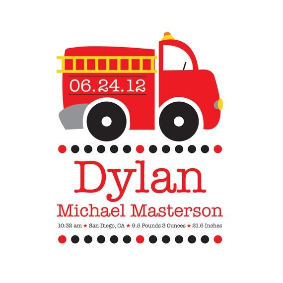 Fire Truck Nursery Fireman Personalized New By NurseryArtGallery