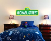 Personalized Sesame Street Wall Vinyl With Name 23'' wide by 8'' high