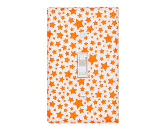 Star Light Switch Plate Cover / Orange and White Nursery Decor / Baby Gender Neutral / Pierres Famous Traveling Circus / Starlettes