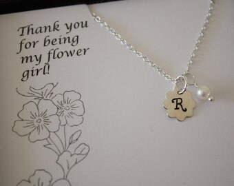 Set of 4, Four Flower Girl Necklaces, Junior Bridesmaid, Thank You card, Girl Necklace, Pearl Necklace, Initial Necklace