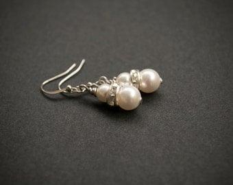 Pearl Earrings. White Swarovski Crystal Pearl & Rhinestone Earrings.White Jewelry. Pearl Jewelry. Wedding Jewelry, Bridesmaid Gift