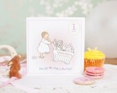 """Little Girl's First Birthday Card """"Pushing my toys"""""""