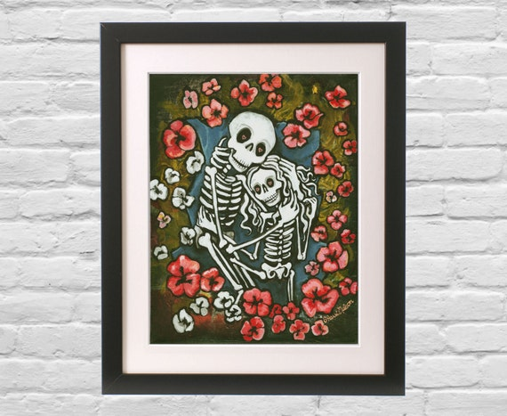 Day Of The Dead Wedding Gifts: Items Similar To Forever Romantic Art Print SMALL Gothic