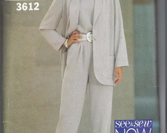 See & Sew 3612 Pattern for Misses' Jacket, Pants, Top. Sizes 6, 8, 10. Yes It's Easy. From 1994, By Butterick. Home Sewing Pattern, Vintage