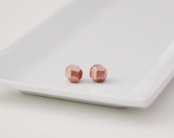 Rose Gold Geometric Stud Earrings - Geo Earrings - Simple - Minimalist - Modern - Lightweight