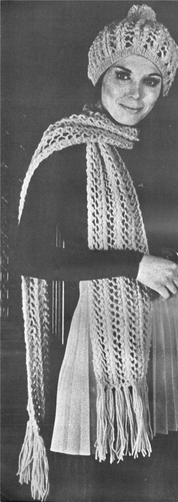 Knitting Pattern Vintage Hat : Knitting Pattern Hat Scarf 1970s vintage pdf instant