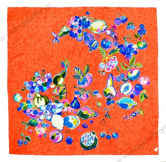 Vintage Unworn 1960s Italian Silk Scarf - Watercolor Painting - Wall Hanging - Apples, Cherries, Peaches