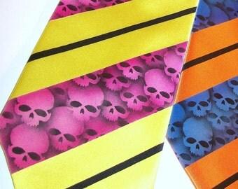 Skull stripe mens necktie, fuchsia stripes on yellow - Custom colors available