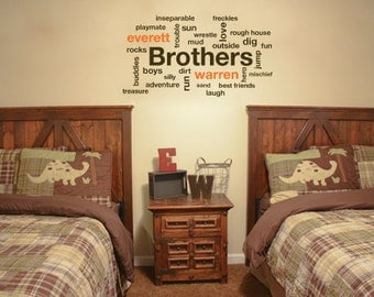 Personalized wall decals, Wall stickers for bedroom, Name wall decal stickers, Kids wall decals, Vinyl wall decal, Name decals, Brothers 171