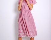 VTG 80s Bow Bell Pink Princess Dress w/ Out-cut Grape Trim by Mime Vintage