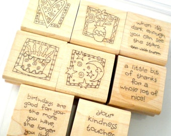 Stampin Up Whimsical Sentiments Rubber Stamp Set  - Quick and Cute