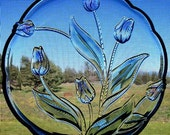 Crystal Glass Cake Dessert Platter w/ Lavender Purple Tulips Vintage Collectible Serving Glassware