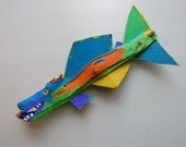 Wood Fish Art - Whimsical Painted Orange Lime Green, Blue Funky Fish Ready to Hang Handmade Creation