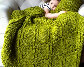 Large Knit Blanket / Oversized Knitted Afghan Free US Shipping