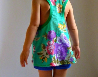 DOLI Tank- PDF Sewing Pattern Racer Back Tank Loose Fit Top Toddler Girls 12mo-6 Instant Download