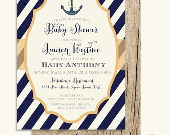 Printable Invitations   Nautical Invitation   Anchor Invitation   Baby  Shower Invitation   Freshmint Paperie
