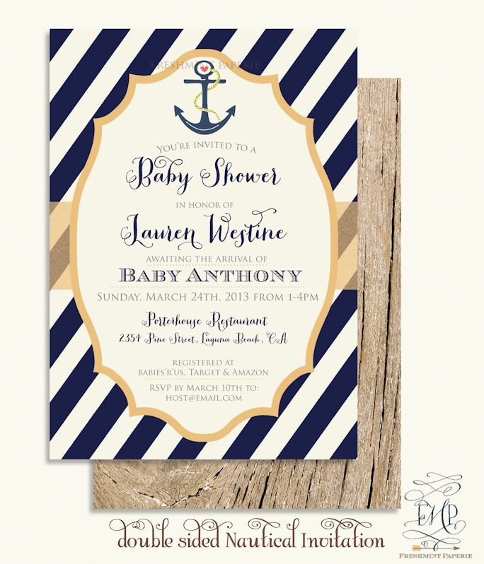 Nautical invitations nautical baby shower invitation