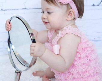 MORE COLORS-Pink Chiffon Elastic Headband-Pink Glitter Headband-Boutique Style-Shabby Chic-Light Pink Rhinestone Flower
