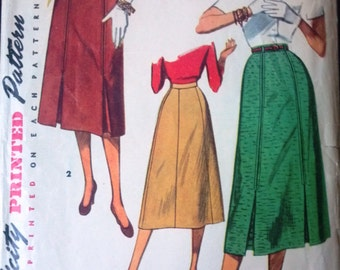 Simplicity 4414 Pattern for a Misses' Skirt, Size Waist 28, Circa 1950s or Late 1940s, Vintage Pattern, Home Sewing Pattern 1950s Fashion