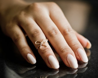 Small Bow Midi Ring / Knuckle Ring - Handmade. Tarnish Resistant. Hypoallergenic. In Gold, Silver, Copper / Rose Gold.