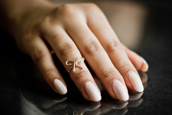 Small Bow Knuckle Ring / Midi Ring - Handmade. Tarnish Resistant. Hypoallergenic. In Gold, Silver, Copper / Rose Gold.