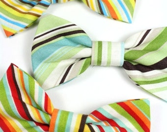 Striped Dog Bow Tie Cat Bow Tie Red Green Yellow Dog Bowtie