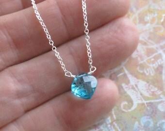 Tiny Apatite Necklace Solitaire Sterling Silver Chain DJStrang Aqua Caribbean Blue Boho Minimalist
