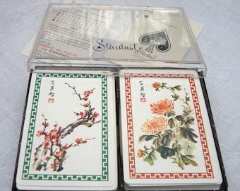 Card Decks 2 Stardust Chrysanthemum Plum Blossom Vintage Playing Cards w Jokers