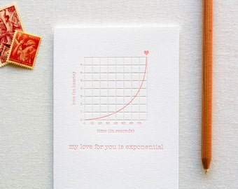 Love is Exponential Letterpress Card