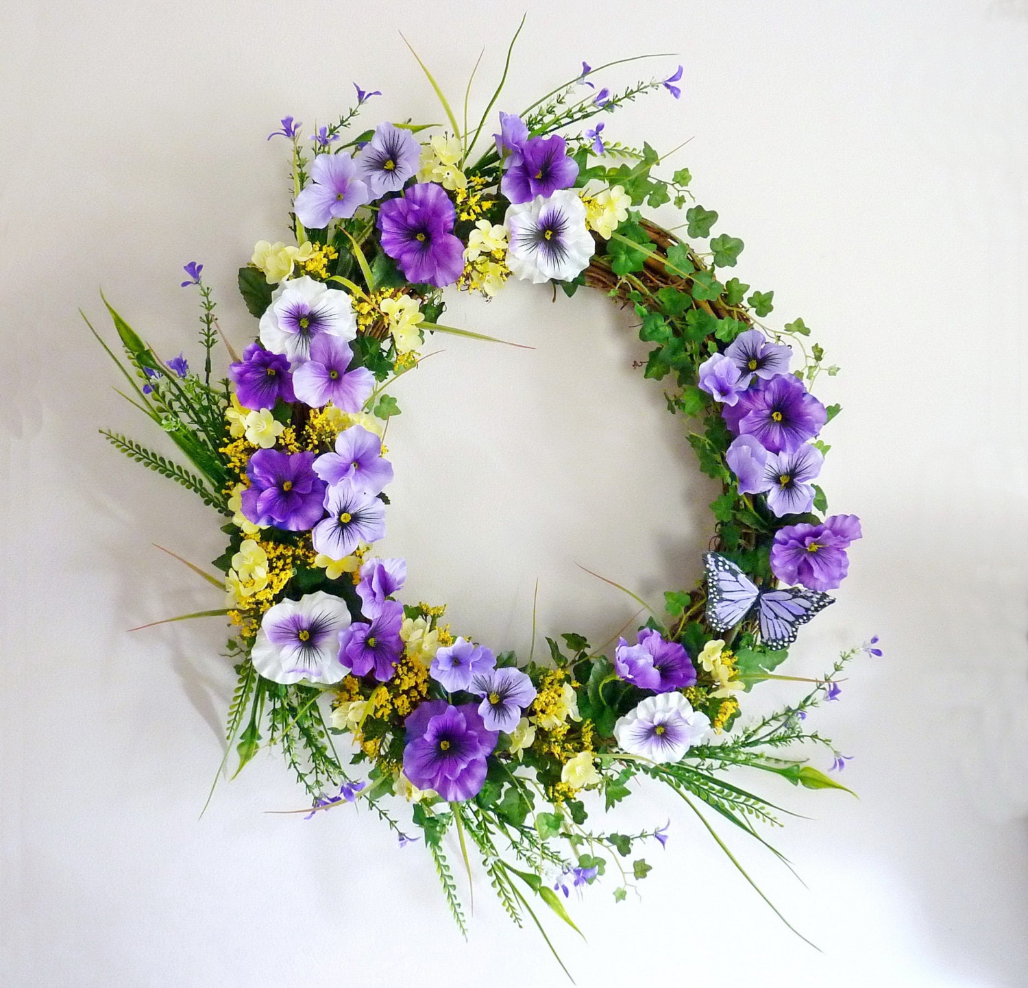 Purple Pansy And Wildflowers Spring Wreath Front Door Wreath