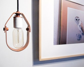 copper u0026 porcelain bare bulb pendant light minimal lighting plug in pendant farmhouse modern