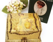 Art Nouveau Antique Dresser Box Asian Inspired Art Keepsake Presentation Box Yellow Black Lace Celluloid Storage Container
