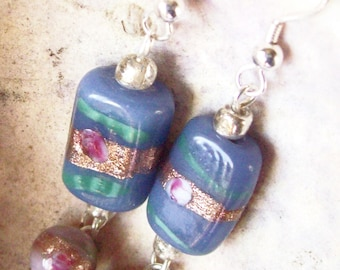 Blue and Lilac Earrings Lampwork Beads   ID 164