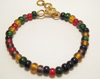 Multi-Colored Glass Bead Bracelet