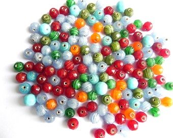 Supplies,beads New 100 Pcs LIL. faceted Glass swirl 8mm glass supplies,Beads mix color rounds.