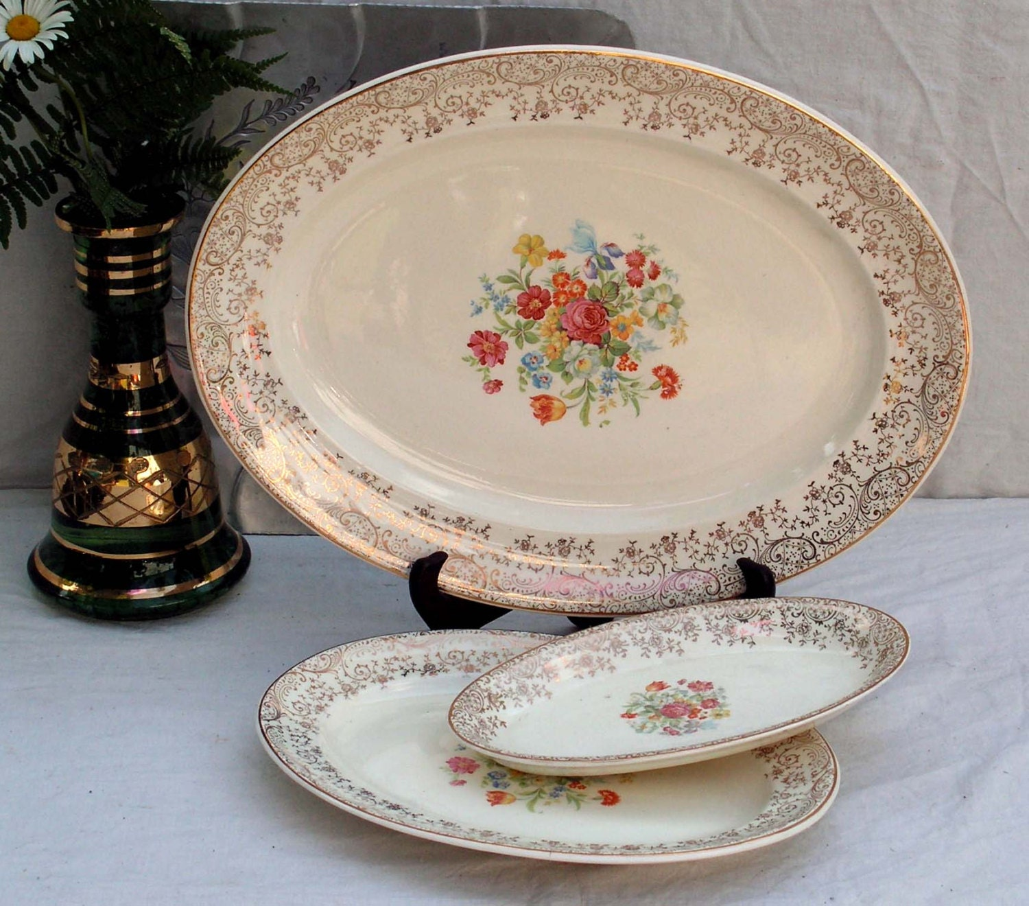 Steubenville China Serving Platter Set Floral Gold Filigree