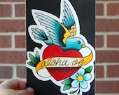 5 x 7 Watercolor Painting - Tattoo Flash Inspired - Bird with Heart, Banner, and Flower