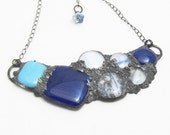 Fused glass & copper bib necklace in blue/white stained glass - Urban Artifact Series